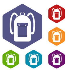 Backpack icons set hexagon vector