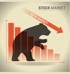 Bear market concept presents stock market with vector