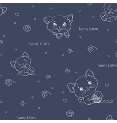 Cartoon seamless pattern with cute catsny cats vector image