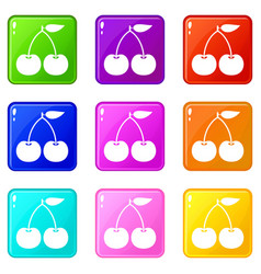 Cherry set 9 vector