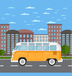 Classic retro bus in urban landscape vector