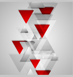 Corporate geometric background with grey and red vector
