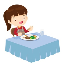 Cute girl eating so happy and delicious vector