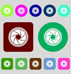 Diaphragm icon aperture sign 12 colored buttons vector