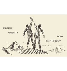Drawn success teamwork partnership concept vector image vector image