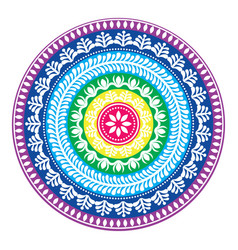 Folk round pattern hippie colorful mandala boho vector