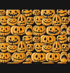 halloween pumpkins seamless pattern for your vector image