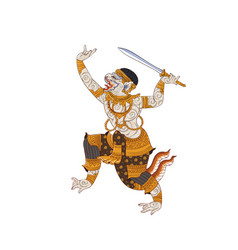 hanuman thai traditional painting vector image vector image