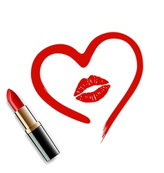 Heart drawn in lipstick and lip imprint vector