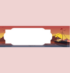 horizontal template with retro boat at sunset vector image