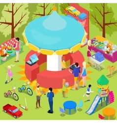 Isometric children toys shop interior with toys vector