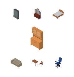 Isometric furnishing set of bedstead chair vector