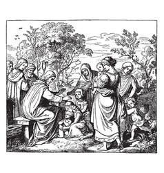 Jesus blessing little children vintage vector