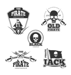 Pirate logo labels and badges vintage vector