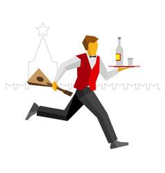 Russian waiter runs with vodka and balalalika vector