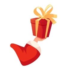 Santas hand holding gift box vector