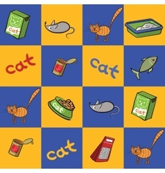 Seamless background of products for cats vector image