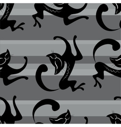 Seamless pattern beauty black cats vector image vector image