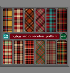 Set in red tartan seamless pattern background vector