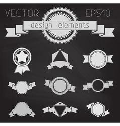 set of chalkboard badges labels banners ribbons vector image vector image