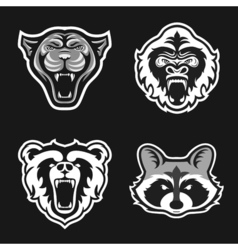 Set of logos for sport team panthers gorillas vector