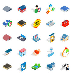 Shed icons set isometric style vector