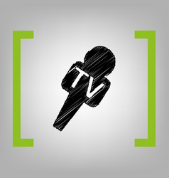 Tv microphone sign black vector
