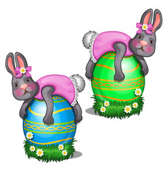Two rabbits in pink dress lie on large easter eggs vector