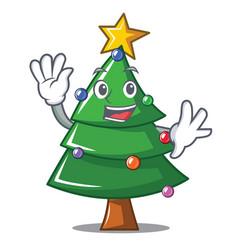 Waving christmas tree character cartoon vector
