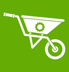 wheelbarrow icon green vector image