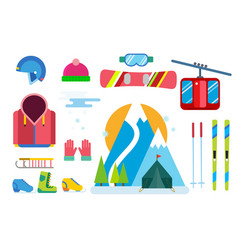 Winter sport icons set ski snowboarding vector