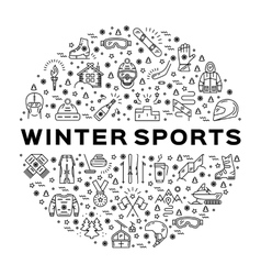 Winter sports infographics Black thin line icons vector image