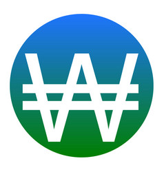 Won sign white icon in bluish circle on vector