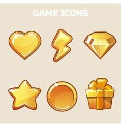 Action gold game icons set vector