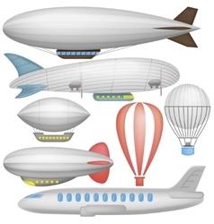 Airship balloons and airplane vector image