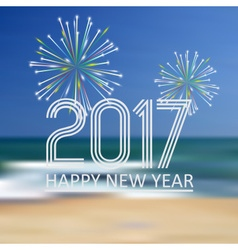 Happy new year 2017 on blue beach like abstract vector