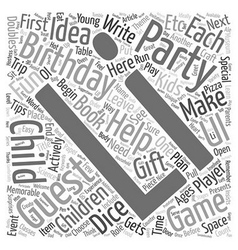 Birthday party ideas for children ages 2 12 text vector