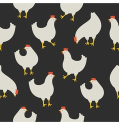 Chicken pattern dark grey vector image