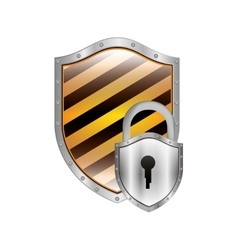 metallic shield with diagonal stripe and padlock vector image