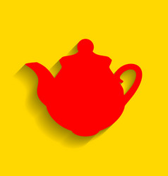 Tea maker kitchen sign  red icon with soft vector