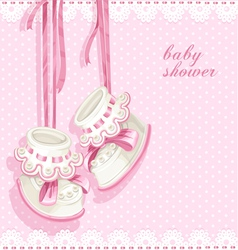 Baby shower card with pink booties and lace vector image