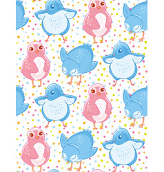 Seamless pattern with cute blue and pink little vector