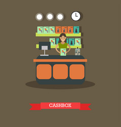 pet shop cashbox in flat style vector image