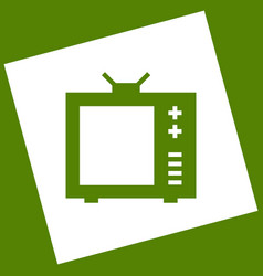 tv sign   white icon obtained vector image