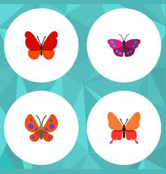 Flat moth set of moth danaus plexippus monarch vector