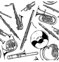 Seamless pattern with woodwind and brass musical vector