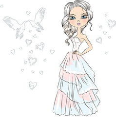 Beautiful fashionable girl bride vector