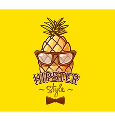 Colorful hipster pineapple with glasses a vector