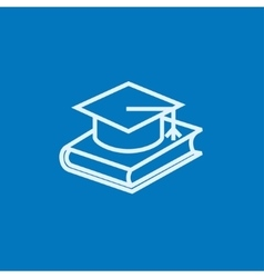 Graduation cap laying on book line icon vector