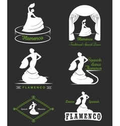 Set logos and badges flamenco vector